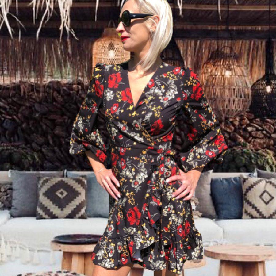 átlapolós C'est MONIQUE virágos nyári party- mini ruha