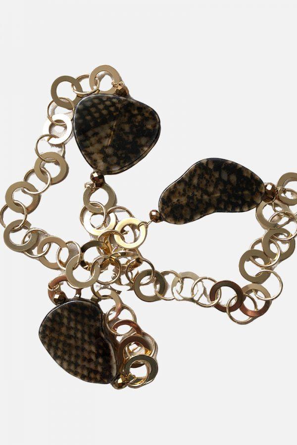 ARANY karika-leopárd minta-hosszú NYAKLÁNC