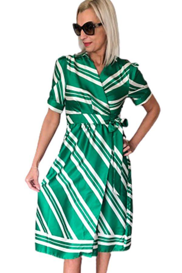 PACCIO átlapolós zöld-fehér csikos,trendy midi ruha